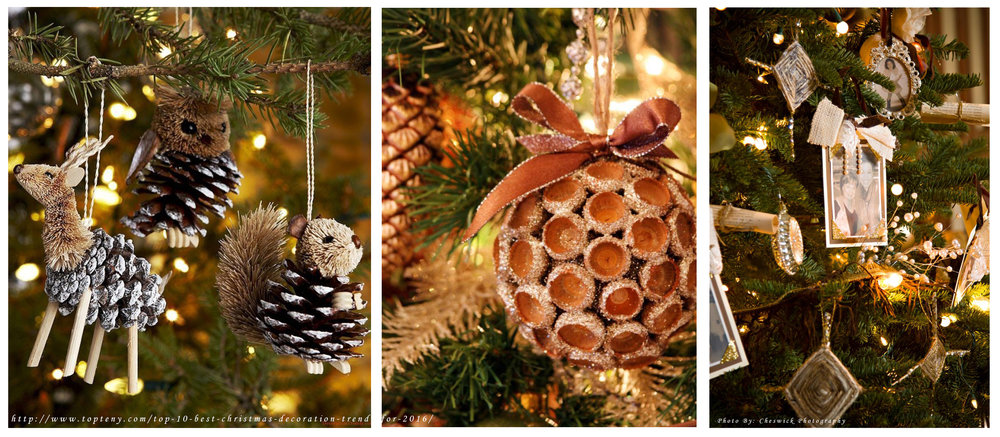 Left and center: handmade decorations ( source ) - right: family portraits.