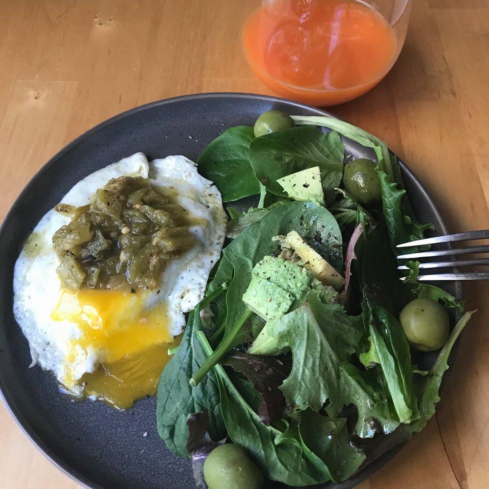 Breakfast salad with juice