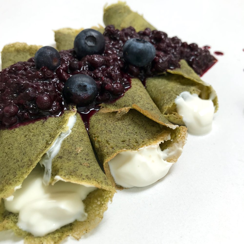 Green Crepes Close-Up