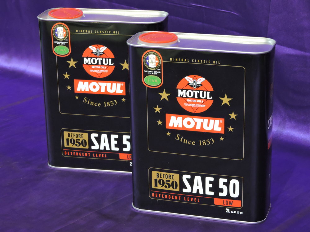 MOTUL CLASSIC - Motul Oils Classic range of low detergent oils are specifically designed to protect your older engine. MOTUL Classic Oil SAE 50 for the warmer climates & MOTUL Classic Oil SAE 30 for the colder areas.MOTUL single-grade motor oils have been specially formulated for engines and gears of vehicles built between 1900 and 1950. Oil losses are minimised by the viscosity which is perfectly rated for vintage vehicles. The excellent adhesion permits low-wear starts even after longer immobilisation periods. $40 (no postage when included with a mudguard)