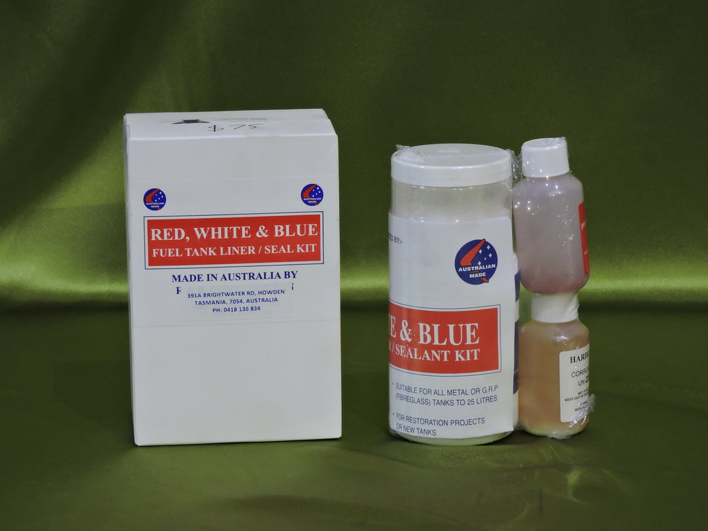 Tank Liner/Sealer - Fuel tank liner / sealer kit $80 (delivered in WA). This specially formulated fuel and ethanol resistant epoxy resin forms a structural tank inside your tank. The kit includes a rust treatment and very clear instructions to make the job easy. Have a look at the youtube demonstration HERE. or paste this address into your browser.....https://www.youtube.com/watch?v=DJ_uQy4Aru8One kit suitable for all tanks to 25 litres, most car tanks require 2 kits.