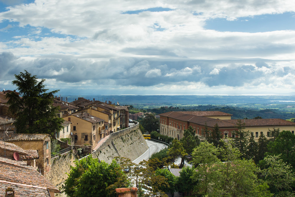 The view of Montepulciano from the outside terrace at Il Sasso