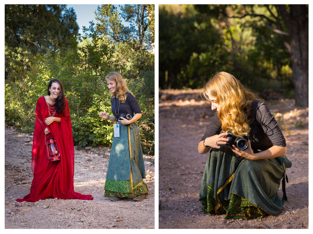 Pictured   left - a candid shot of Steph and Brooke b  ehind the scenes   from our first afternoon creative collaboration. Brooke (pictured right) provided us a variety of models in gorgeous gowns as well as props and smoke bombs for dramatic effect.