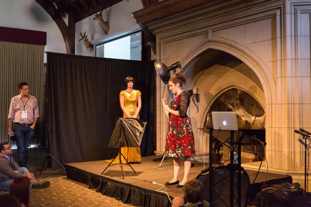 Lindsey Adler's workshop demonstration in the Great Hall