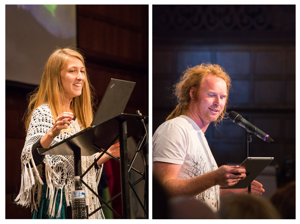 Brooke (left) at the closing ceremony and Joel McKerrow (right) reciting one of his masterful poetry pieces.