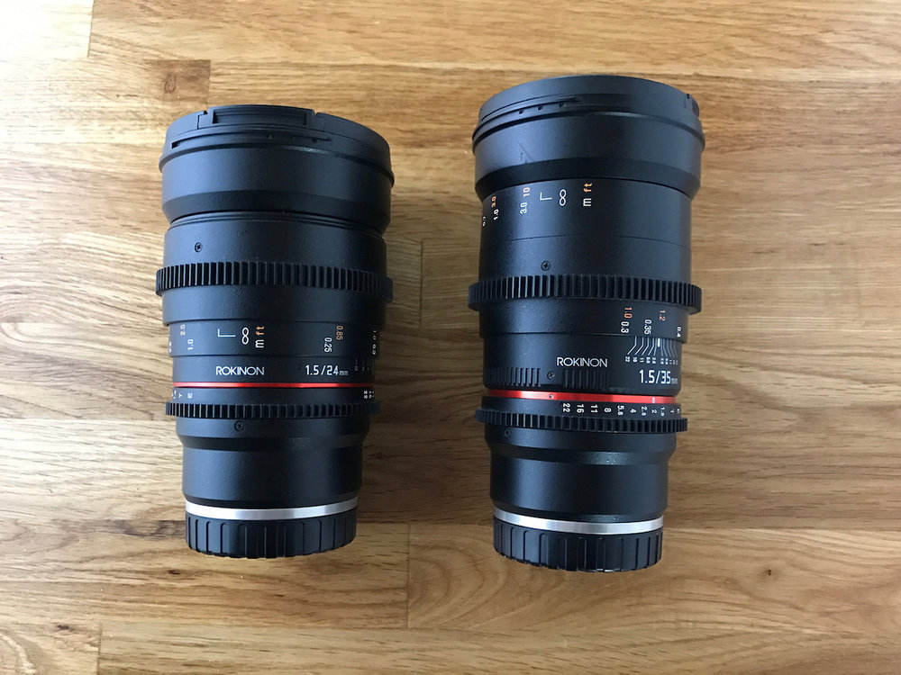 Rokinon 24mm f1.5 and 35mm f1.5 both Sony mount. Used for our Sony A7S and no longer needed. Mint condition, never used, purchased new. $700US (Shipped) for both, SKU=SM004