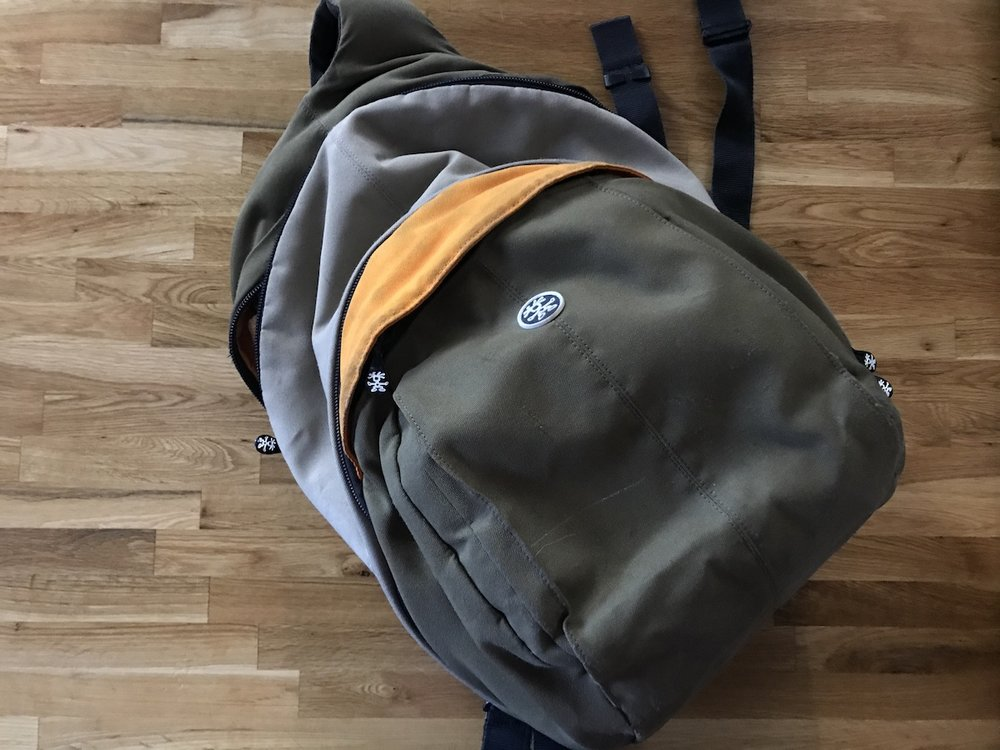 my old backpack. shows sign of use but still in super solid condition. has sleeve for laptop built in. timbuk2 brand. $30US (shipped), sku=sm055