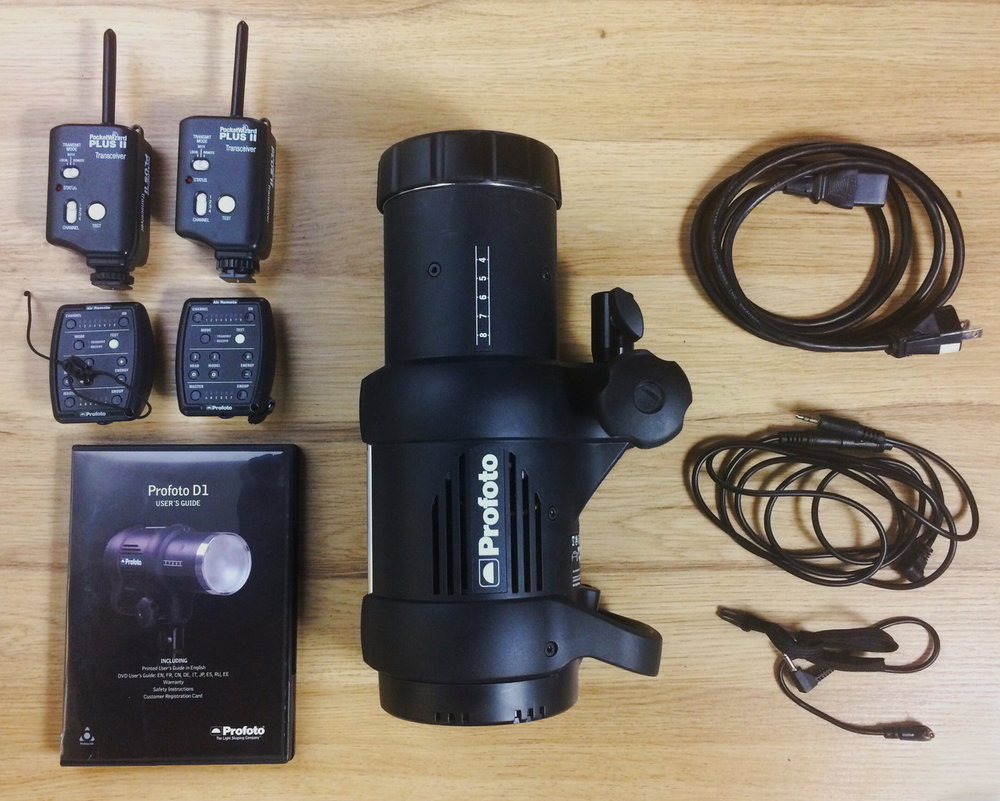 LIKE NEW PROFOTO D1 AIR 1000 STROBE WITH ESSENTIALS, INCLUDING TWO AIR REMOTES AND TWO POCKETWIZARD II TRANSCEIVERS. WE'RE NOT SHOOTING MUCH IN-STUDIO PHOTOGRAPHY THESE DAYS, SO THIS STROBE IS LOOKING FOR A NEW HOME. $1200 SHIPPED FOR THE KIT. SKu=SM061