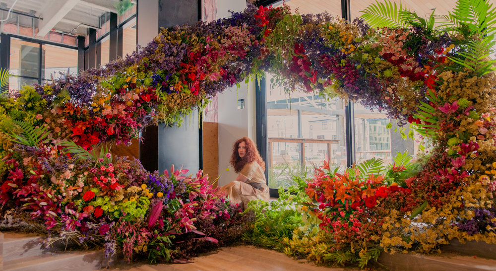 Katie from Ponderosa and Thyme inside the HUGE living floral installation she made especially for our attendees