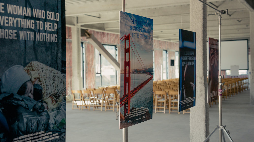 Posters of the short films that would premiere later that night