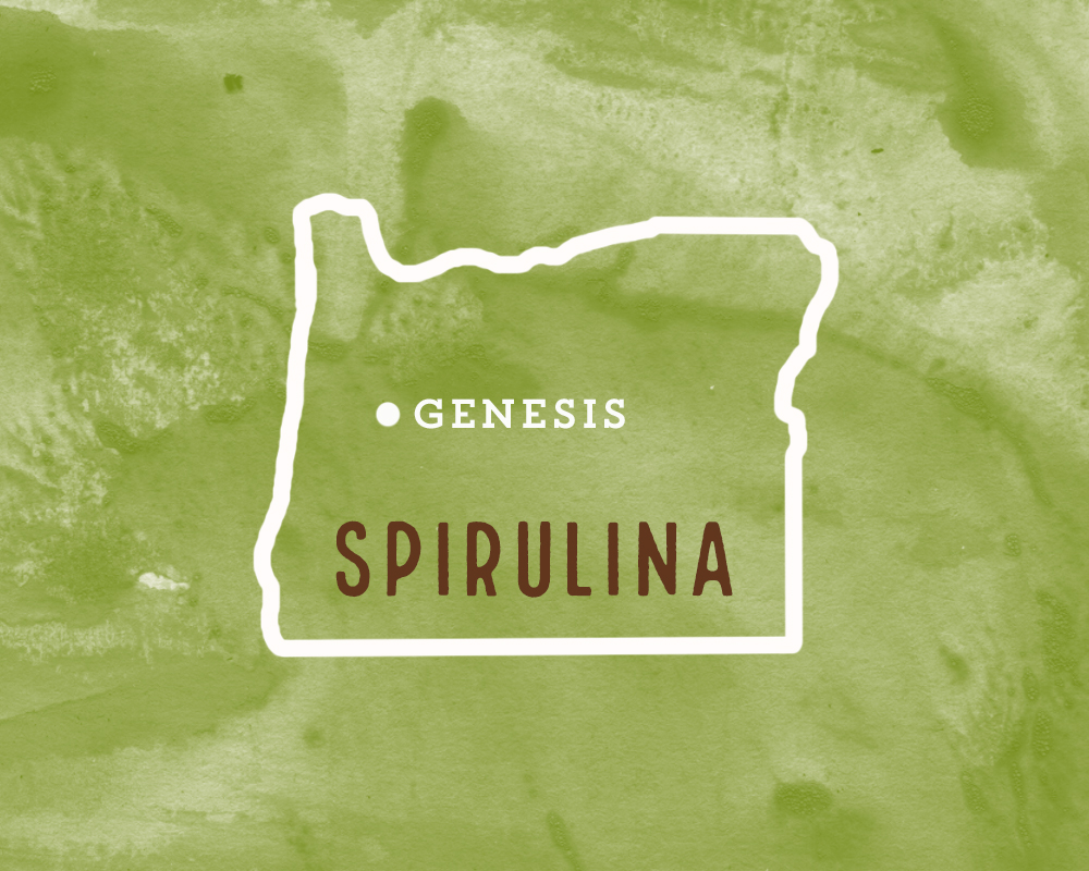 We use spirulina that is organically raised and harvested from the Klamath river basin in Oregon.