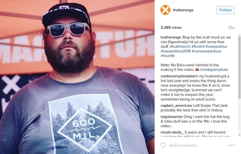 Content Creation for Truth on Vans Warped Tour 2016  Screenshot taken from the @truthorange instagram