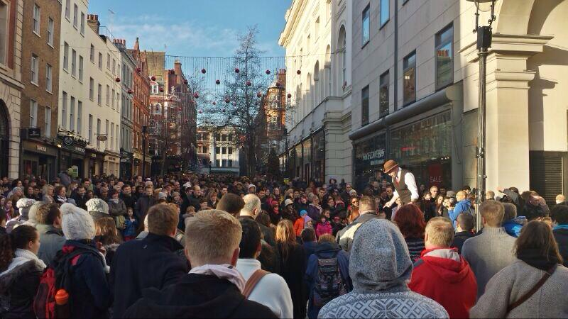 Drawing Crowds for a Covent Garden Street Perfomrance.