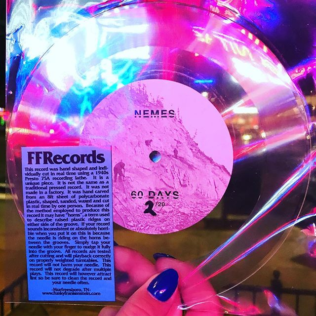 """We just hand numbered 20 Limited Edition 7"""" singles of our new track """"60 Days."""" These are lo-fi, lathe cut records that were handcrafted by @ethanrose_ffrecords in TN. We'll have them for sale at @greatscottrock tonight so come on down and grab one before all 20 are gone! See you at the show!!"""