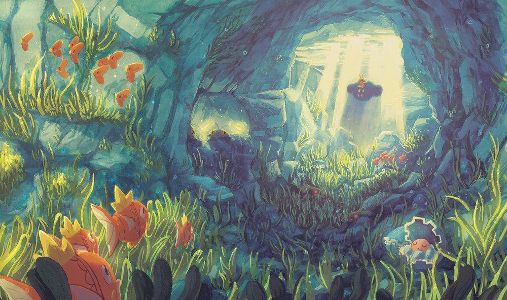 Route 126  Illustration the  Pokemon Traveler Zine .   watercolor, gouache, digital