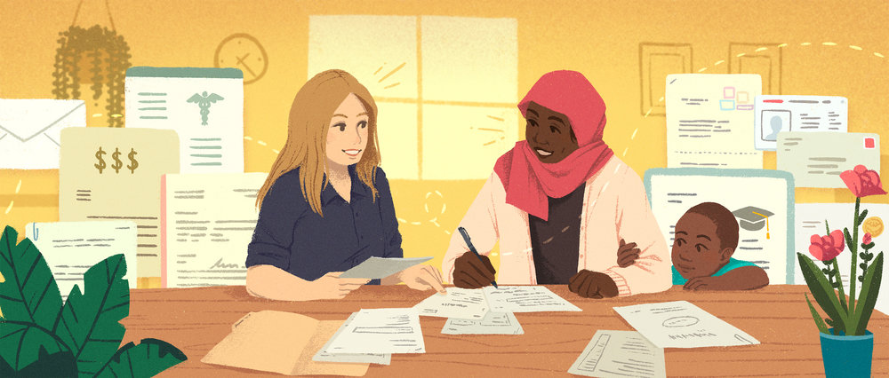 Helping Hand  Illustration for Airbnb's Open Homes  blog post  about a caseworker's role in refugee resettlement in the US.   digital