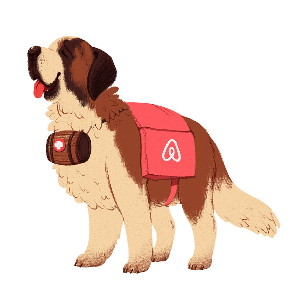 Support Bernard  Illustration for Airbnb for an internal event   digital