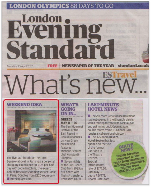 Evening Standard April 30th 2012