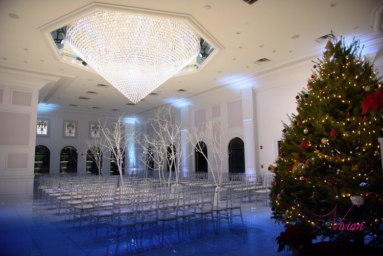 Giant Chandelier Winter Wonderland Wedding Venue