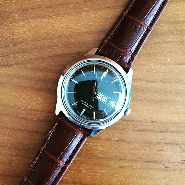 Ooooo, look what showed up today!  My little black 37mm '77 #Timex Automatic Day/Date. Just a little spit shine on the crystal and should be ready to go! #vintagewatch #watchnerd