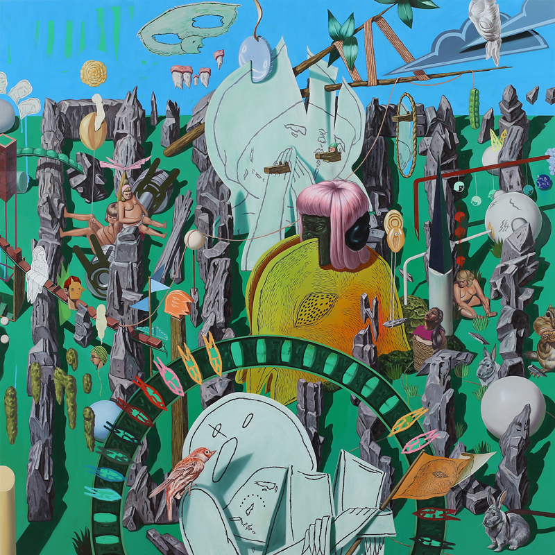 A greenfield     2014,   Oil on canvas, 140x140cm