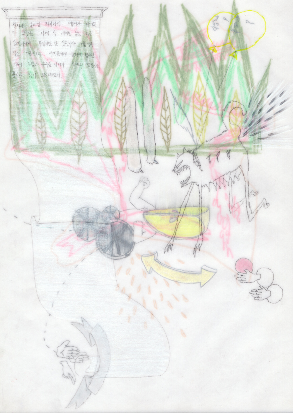 Vulnerable drawing #161    2012, Coloured pencil on tracing paper, 30x21cm (3ea)