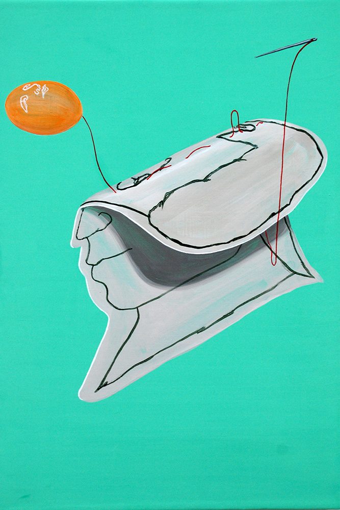 Folded boy     2012, Acrylic on canvas, 41x27cm
