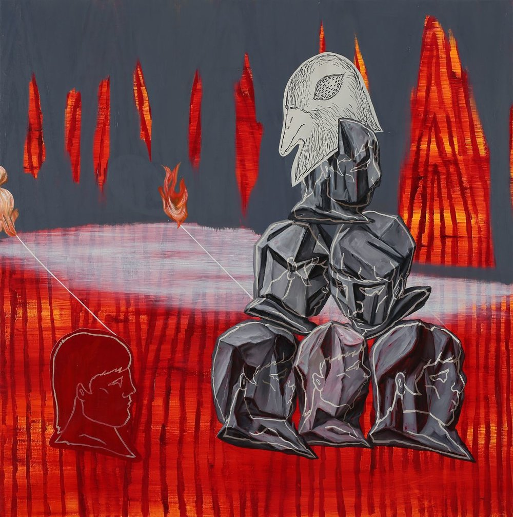 Accumulated fire and stones    2014, Oil on canvas, 60x60cm