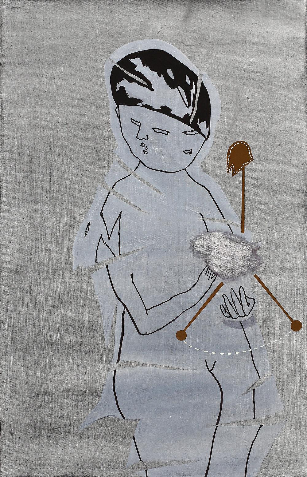 One boy and three  Roybies    2014, Oil on canvas, 53x33cm