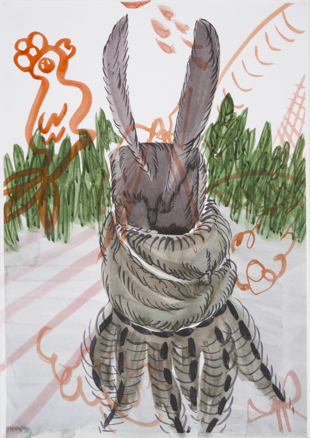 Mundane exercise (V/P #37)    2016, Watercolour on paper, 30x21cm