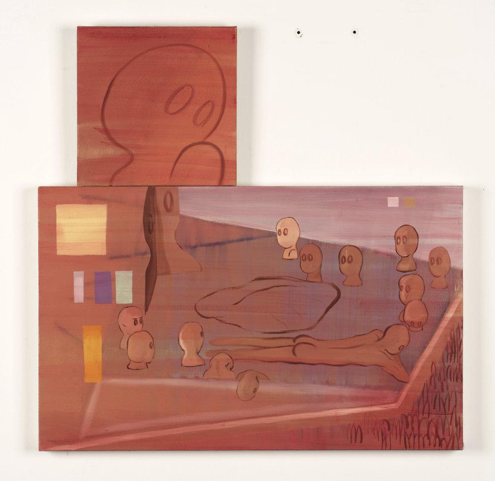 A man seeing men    2017, Oil on canvas, 50x80, 30x30cm