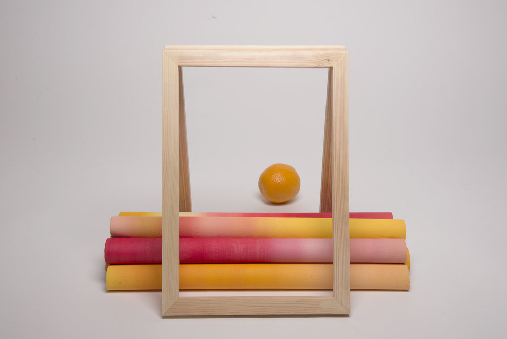 Untitled    2017, coloured canvas, wood, orange, Dimensions   variable