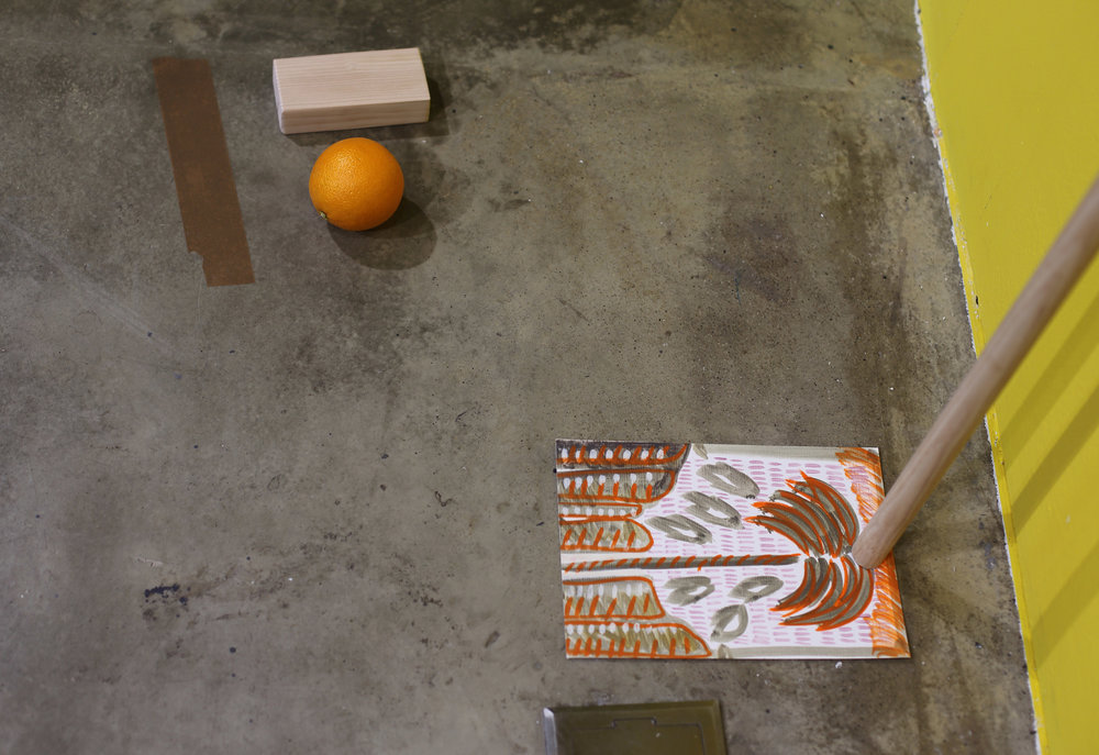 A pretty face    2018, Oil on canvas, glazed ceramic, wood, coloured clay, oil on paper, orange, parcel tape, plaster, Dimensions variable