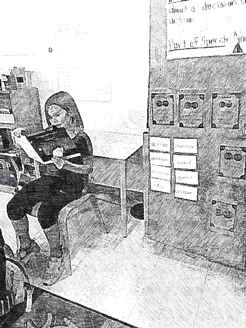 A friend of mine, Emery, reading One Foggy Night In London to her (3rd grade) classmates.