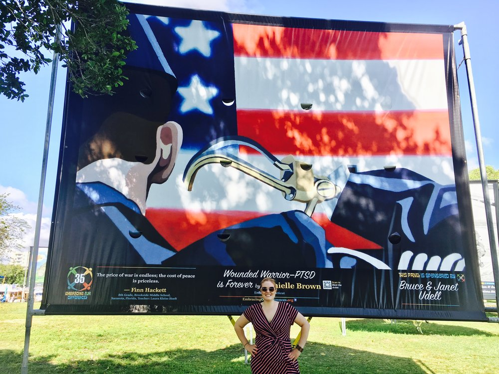 Wounded Warrior - PTSD on display at Island Park in Sarasota, Florida.