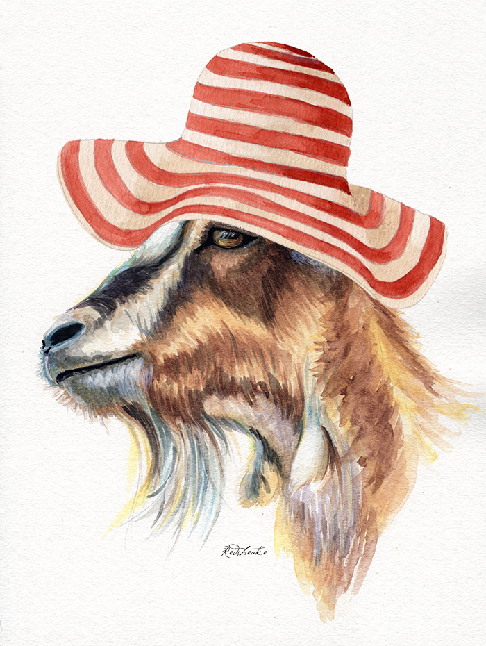 Goat with Sun Hat