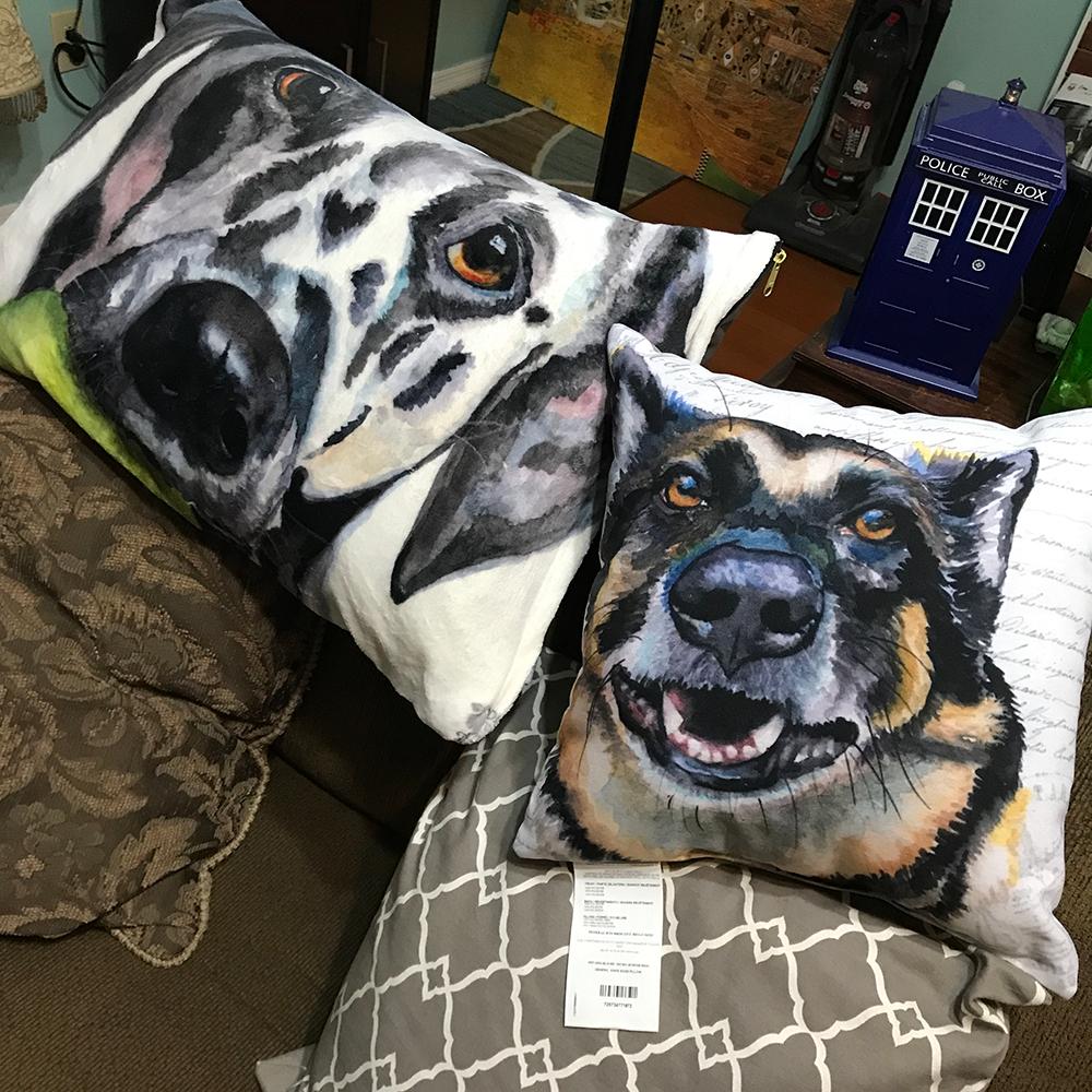 Pet pillow, left - throw pillow, right