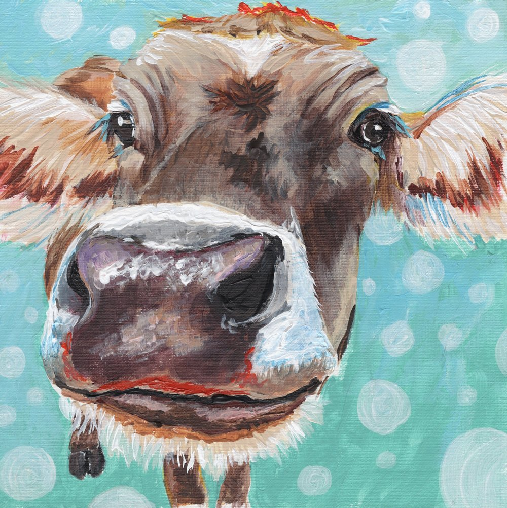 Kissy Cow - Acrylic on Canvas