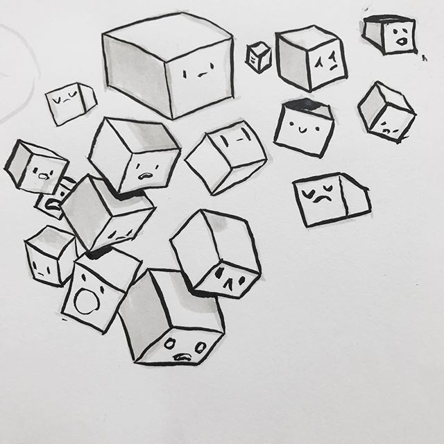 Warmup sketch at @uppercup . . . . . . . . . . . . . . #sketch #drawing #warmup #cubes #art #columbus #uppercupcoffee #columbusartist #ink #penandink #penandinkdrawing #doodle #illustration #sketchbook