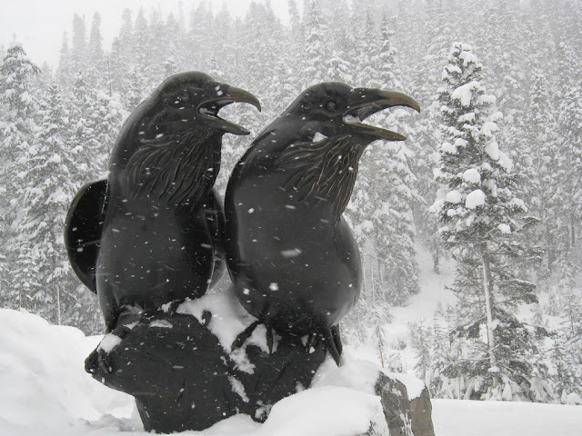 Bronze ravens keeping watch at Mount Baker Ski Area in Washington.