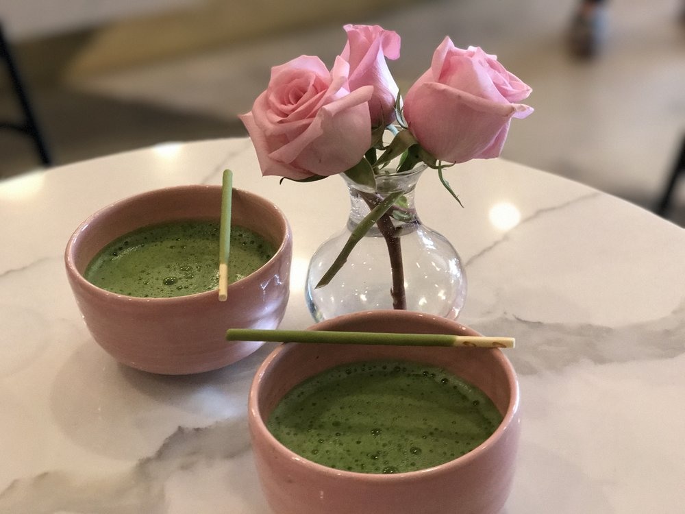 Ceremonial matcha in pink chawan