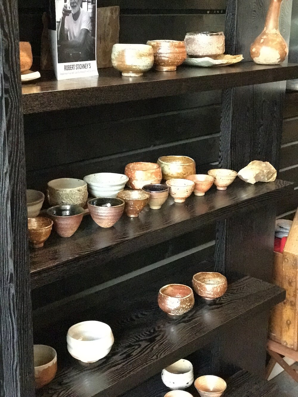 Amazing collection of chawan for use at  O5Tea in Vancouver