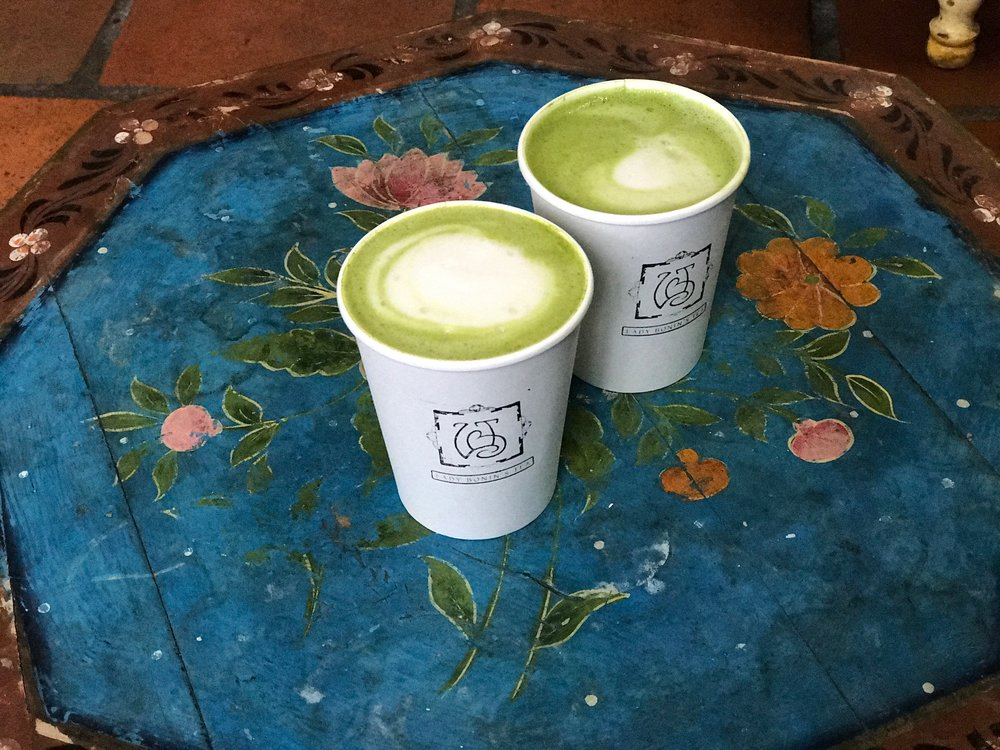 Matcha almond milk lattes at Lady Bonins Tea