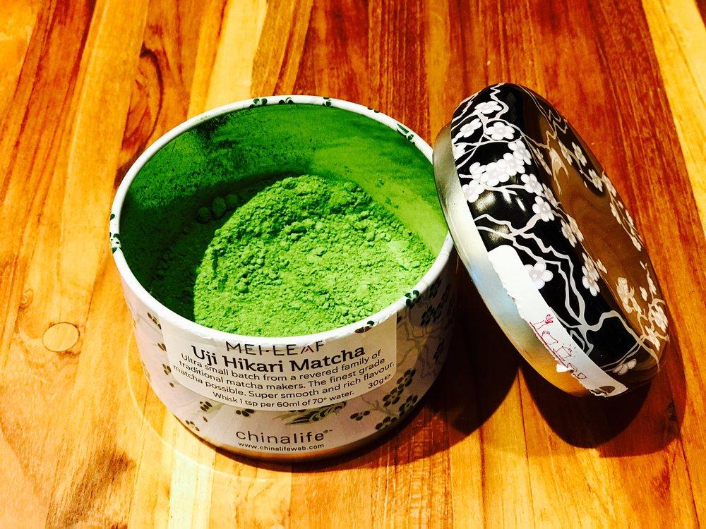 Freshly opened tin of Uji Hikari Matcha