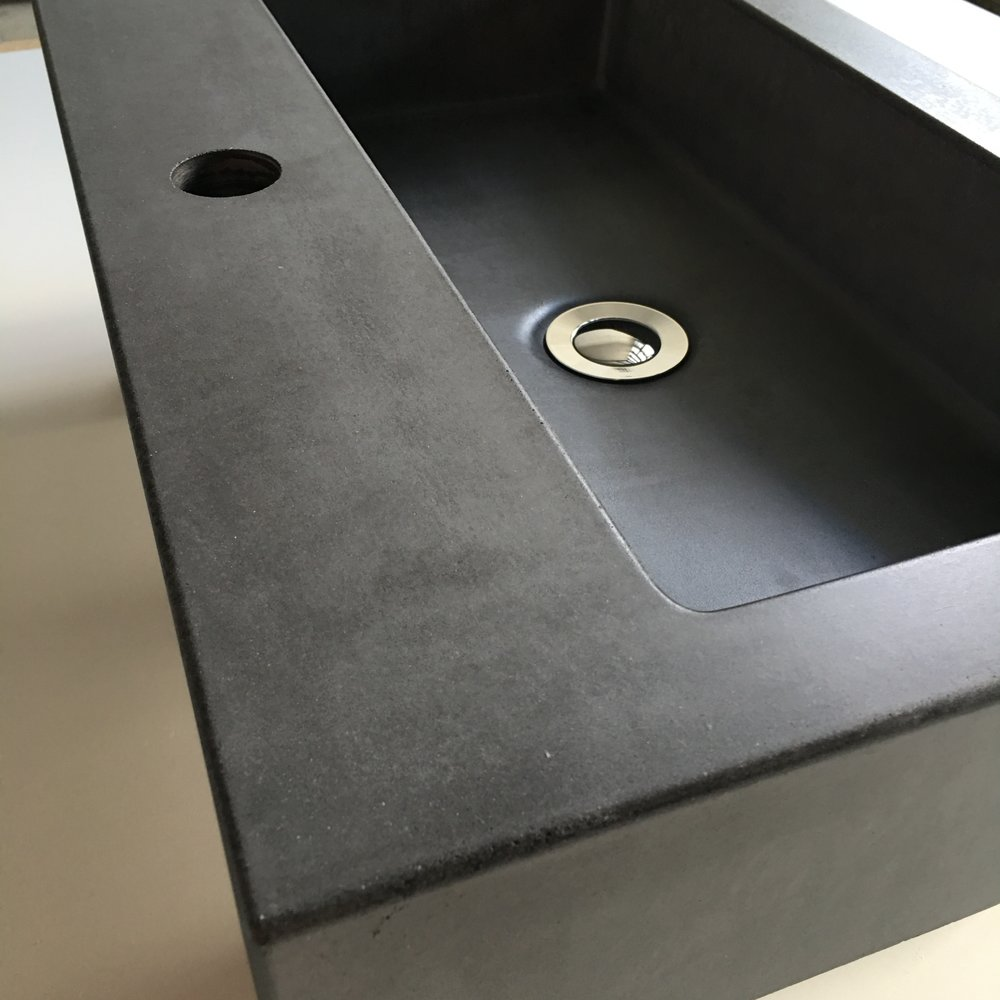 Rectangle concrete vessel sink