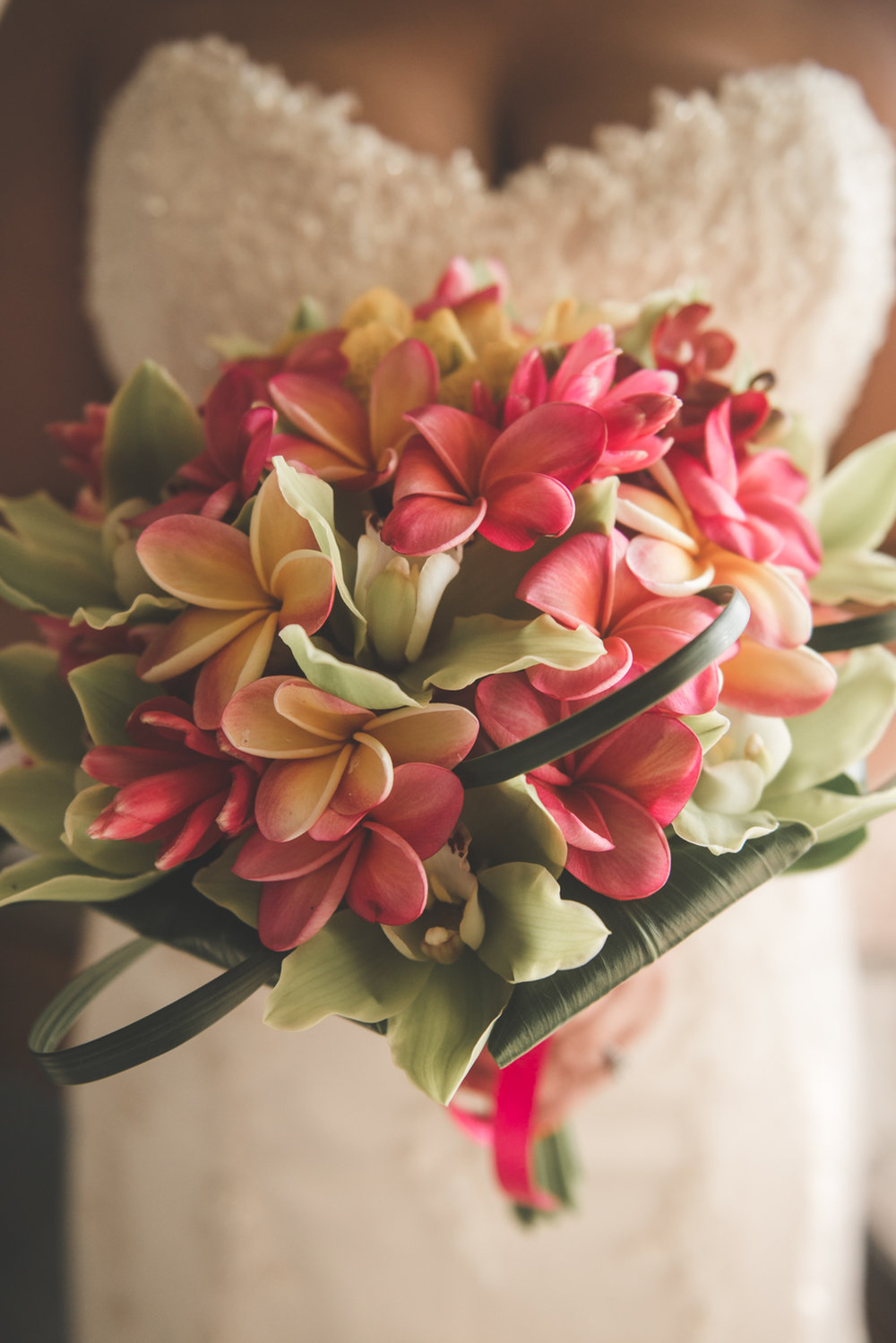 close up of tropical bridal bouquet maui