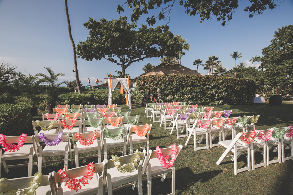 beautiful lawn set up for maui wedding