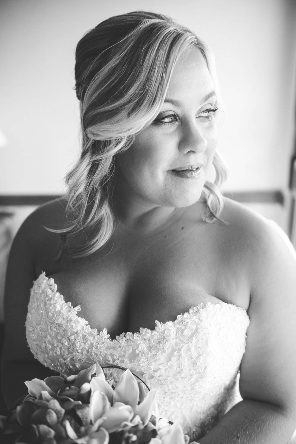 black and white image of maui bride