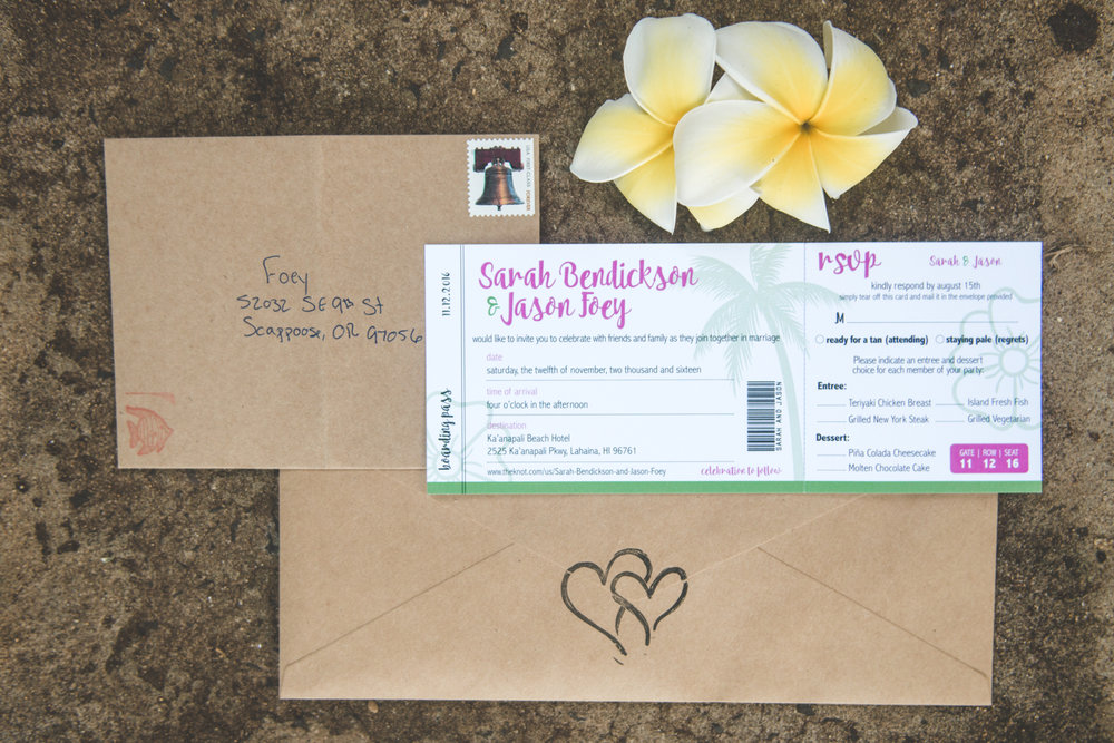 invitation for maui wedding