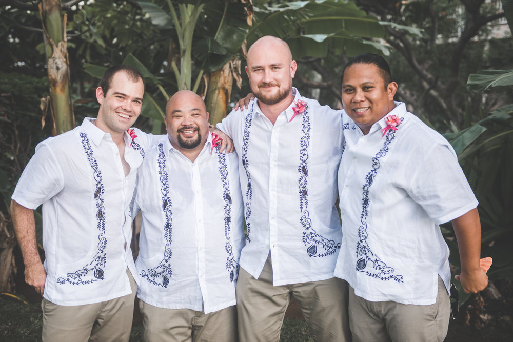 portrait of groom and groomsmen maui